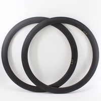 2Pcs New Light 700C 50mm Road Bike Matte UD Full Carbon Fibre Bicycle Wheelset Clincher Rims