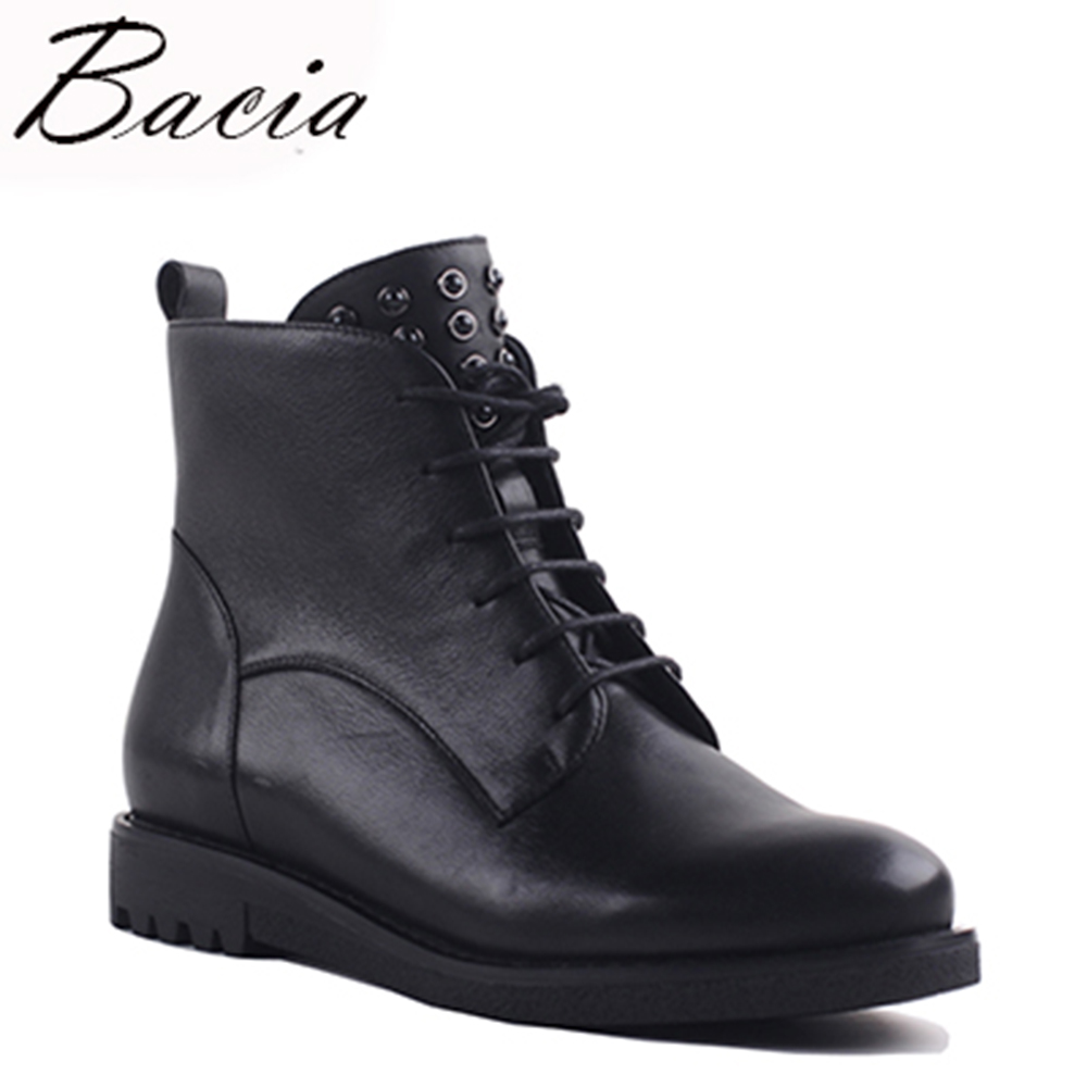 Bacia Handmade Genuine Leather Ankle Boots Black Zipper Lace-Up Snow Shoes Women Botas Short Plush Warm Winter Boots VXA020 bacia women high heels ankle boots genuine leather shoes warm short plush inside autumn fashion pure black botas mc023