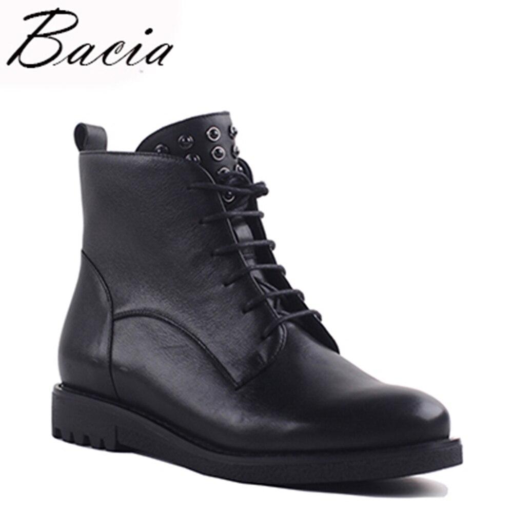 Bacia Main Véritable Bottines En Cuir Noir Fermeture Éclair Dentelle-Up Neige Chaussures Femmes Botas Court En Peluche Chaud Bottes D'hiver VXA020