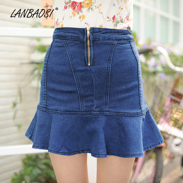 b771c6ec4 LANBAOSI azul Denim Skort para mujeres falda de vaquero de cintura alta  Jeans faldas mujeres chicas Sexy Casual plisado Mini Falda corta