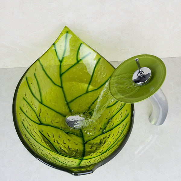 Particular Leaf Tempered Glass Finish Vessel Sink With Pop Up Drain  Bathroom Sink Set With Waterfall Bathroom Faucet HS7061 1 In Bathroom Sinks  From Home ...