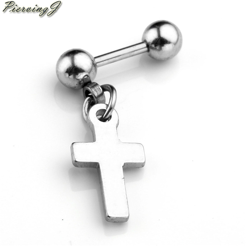 PiercingJ Fashion 16G Steel Barbell Heart and Cross Crystal Ear Cartilage Helix Tragus Bar Ring Earring Piercing