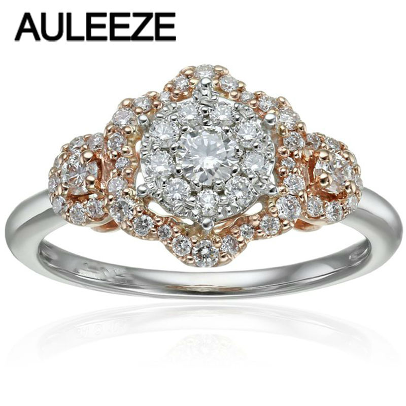 Trendy Retro 14k Two Tone White Rose Gold Ring Fine Jewelry Lab Grown Diamond Wedding Band For Women Moissanites Engagement In Rings From