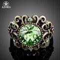 АЗОРА Роскошный Старинный Зеленый Австрийские Хрустальный Цветок Кольца TR0161