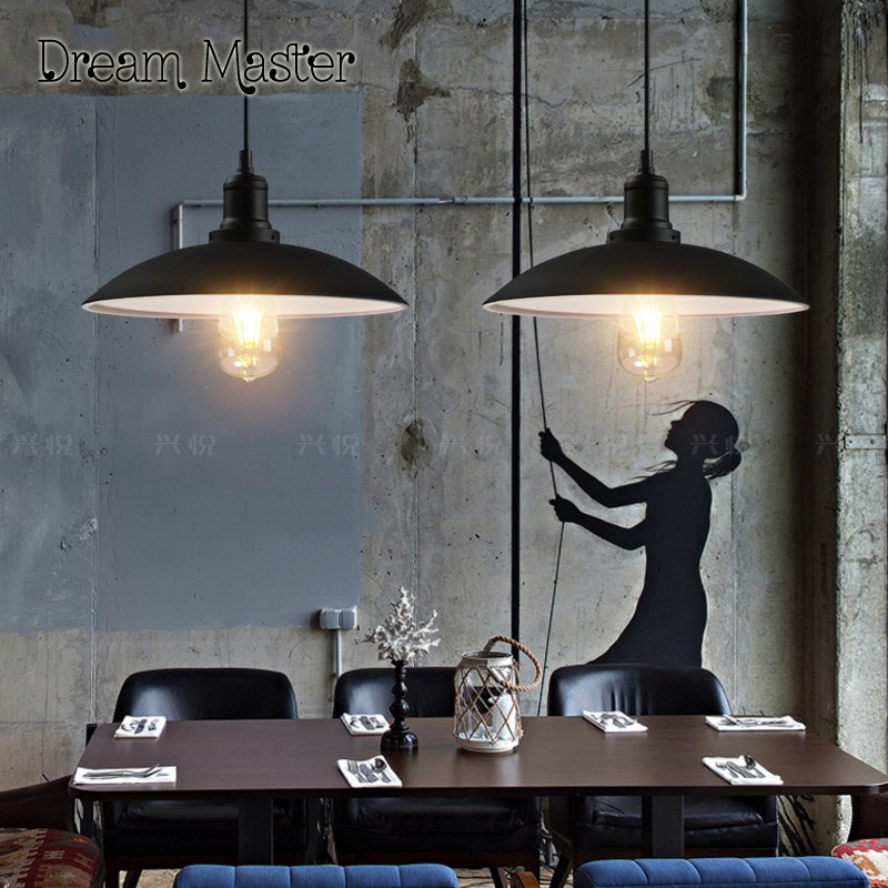 Nordic retro industrial wind iron black chandelier restaurant cafe bar simple pot cover single head Chandelier free shipping loft industrial chandelier bar retro modern simple restaurant single head warehouse iron triangle bar decoration