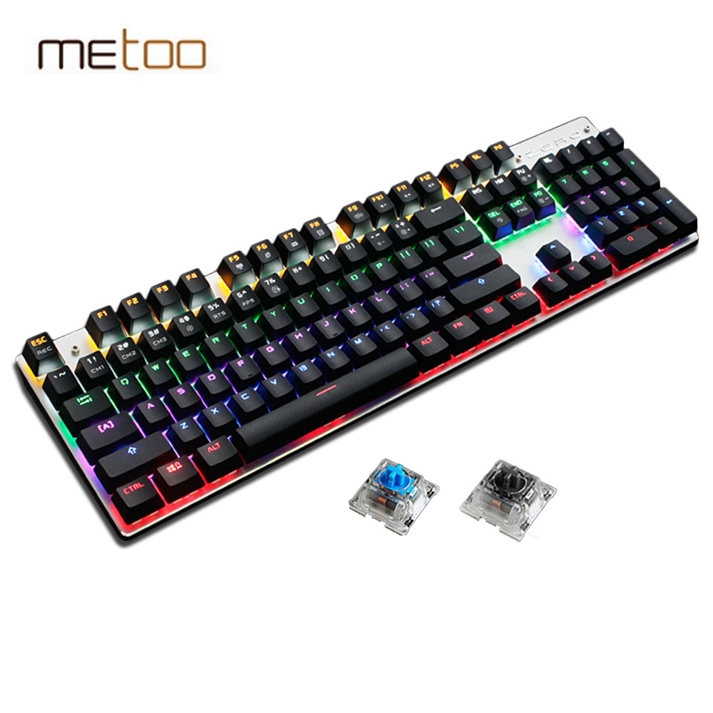 Metoo Mechanical Keyboard 87/104 Anti-ghosting Luminous Blue Black Switch LED Backlit wired Gaming Keyboard Russian stickers mechanical gaming keyboard optical connection switch rgb backlit anti ghosting waterproof usb wired pro gamer russian stickers