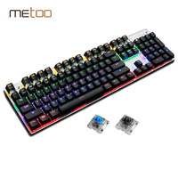 Metoo Mechanical Keyboard 87/104 Anti ghosting Luminous Blue Black Switch LED Backlit wired Gaming Keyboard Russian stickers