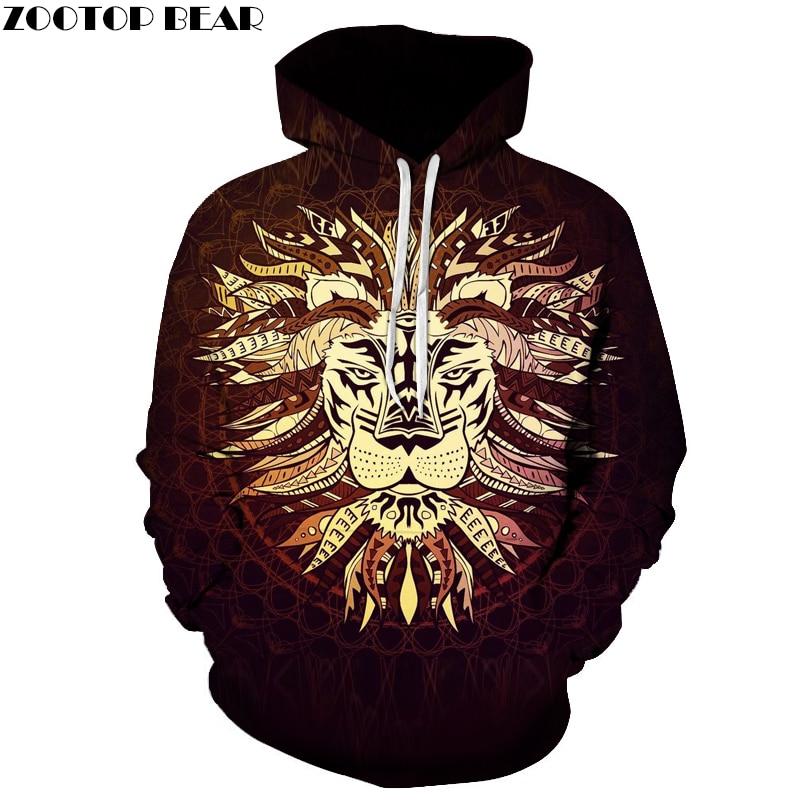 Tribal chiefs Lion King Pritned Hoodies Quality 3D Men Women Sweatshirt Novelty Tracksuits Male Jacket Plus Size 6XL New Outwear