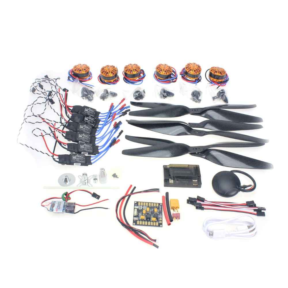RC HexaCopter Aircraft Electronic Kit :700KV Brushless Motor 30A ESC 1255 Propeller GPS APM2.8 Flight Control DIY Drone F15276-A 4pcs 6215 170kv brushless outrunner motor with hv 80a esc 2055 propeller for rc aircraft plane multi copter