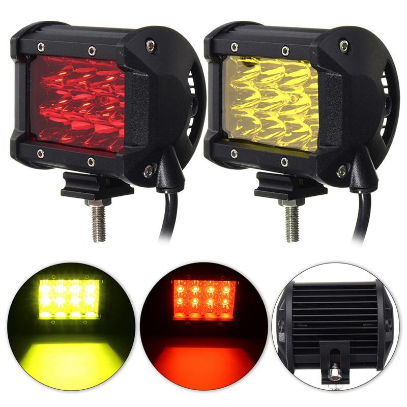 68W 4 Inch  LED Work LIght Red/Yellow 12V 24V Side Luminous Light Bar Car Offroad Driving Light For 4x4 Trucks Off-road Vehicles