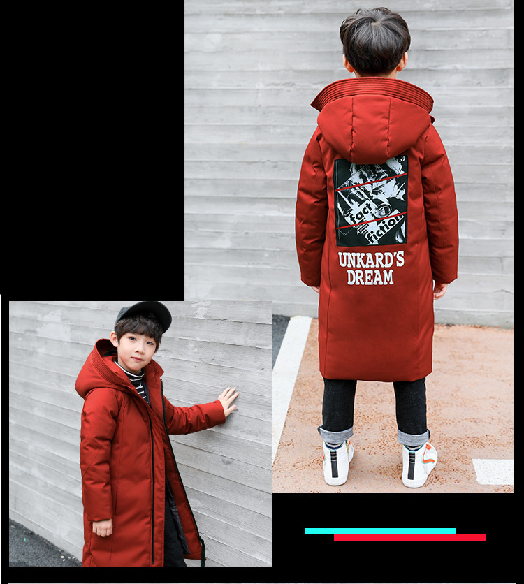 -30 degree children clothing 19 boy clothes warm winter down cotton jacket Hooded coat waterproof thicken outerwear kids parka 4