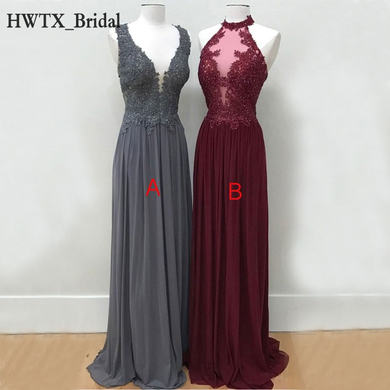 Affordable Wedding Guest Dresses: Elegant Long Chiffon Bridesmaid Dresses Vintage Lace Top A