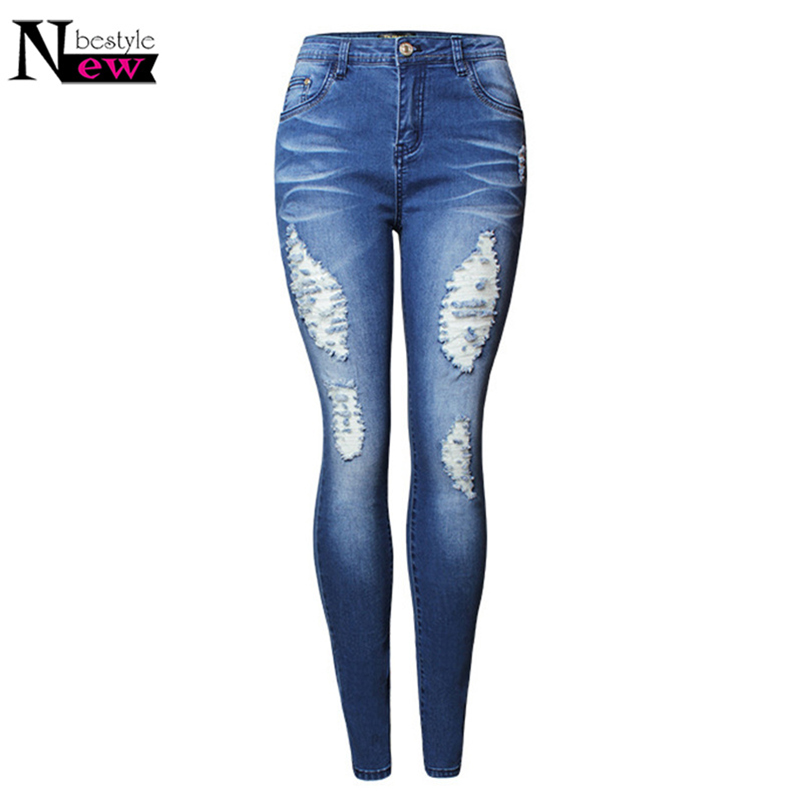 Ladies Blue Mid Waist Push Up Jeans Sexy Women Stretch Ripped Hole Freddy Denim Girls Pants Female Femme Cotton Skinny Trousers