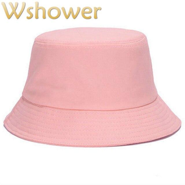 b0a82fd72f48a8 Which in shower Adult Cotton Solid Color Plain Bucket Hat Hip Hop Blank Sun  Panama Summer Women Men Fishing Male Female Cap Bob