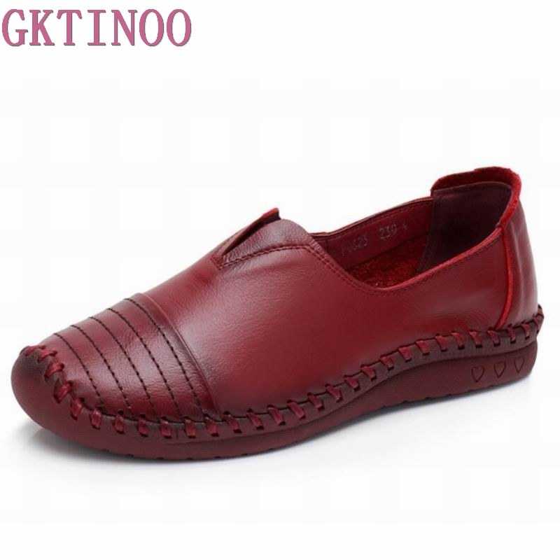 GKTINOO fashion Ladies Shoes Women Genuine Leather Pregnant Flats Casual Soft Loafers Shoes Female Driving Flats Plus Size 2017 new fashion women chinese style embroidery flower cloth shoes flats female casual canvas driving shoes gray plus size f003