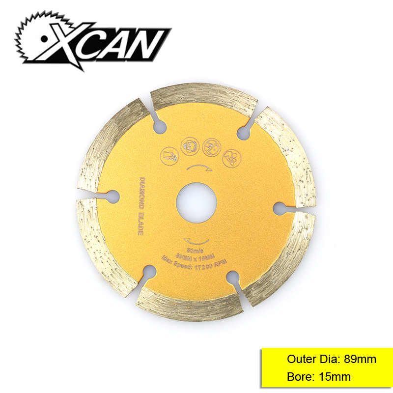 XCAN 1pc Diameter 89mm Bore 15mm Diamond Coated Circular Saw Blade Dry Stone Cutting Blade