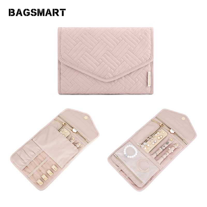 BAGSMART Small Travel Jewelry Rolls Lightweight Women Jewelry Bag Organizer For Jewelry Necklace Holder Earring Ring Storage Bag