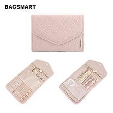 BAGSMART małe podróże biżuteria rolki lekkie kobiety biżuteria organizator do torby na biżuterię naszyjnik uchwyt do przechowywania kolczyków pierścionków torba