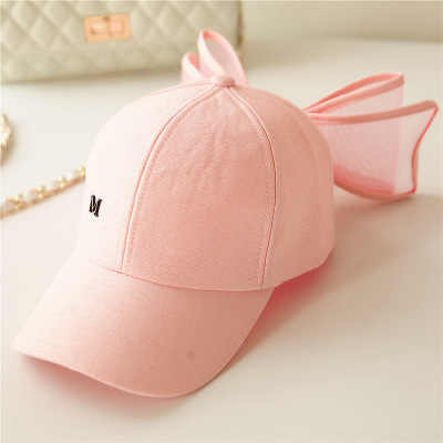 New Fashion Big Bowknot Baseball Cap Korea Lovely Hats Black Pink White Colors Cotton Mesh Mark Bow Caps for Women Girls