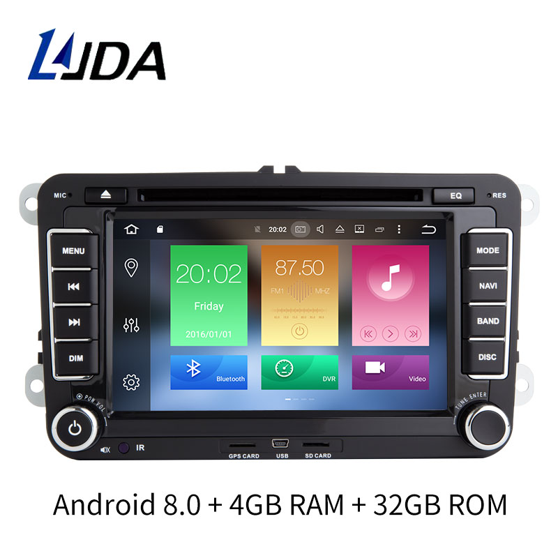 LJDA 2 Din Android 8.0 Car DVD player For Volkswagen VW Skoda Passat Polo Golf Touran Jetta Caddy Bora GPS Radio Multimedia RDS bluetooth link car kit with aux in interface & usb charger for vw bora caddy eos fox lupo golf golf plus jetta passat polo