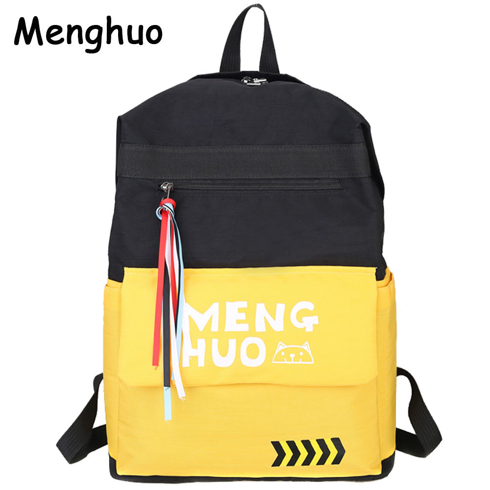все цены на Menghuo 2017 Fashion High Quality Tassel Ribbon Women Backpack School Bag for Girls Boys Men Backpack sac a dos femme Mochilas