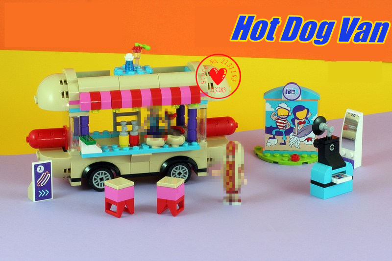 цена на 10556 10559 Girl Amusement Park Hot Dog Van Space Odyssey model Building Blocks Brick Toy Compatible legoe friends kid gift set