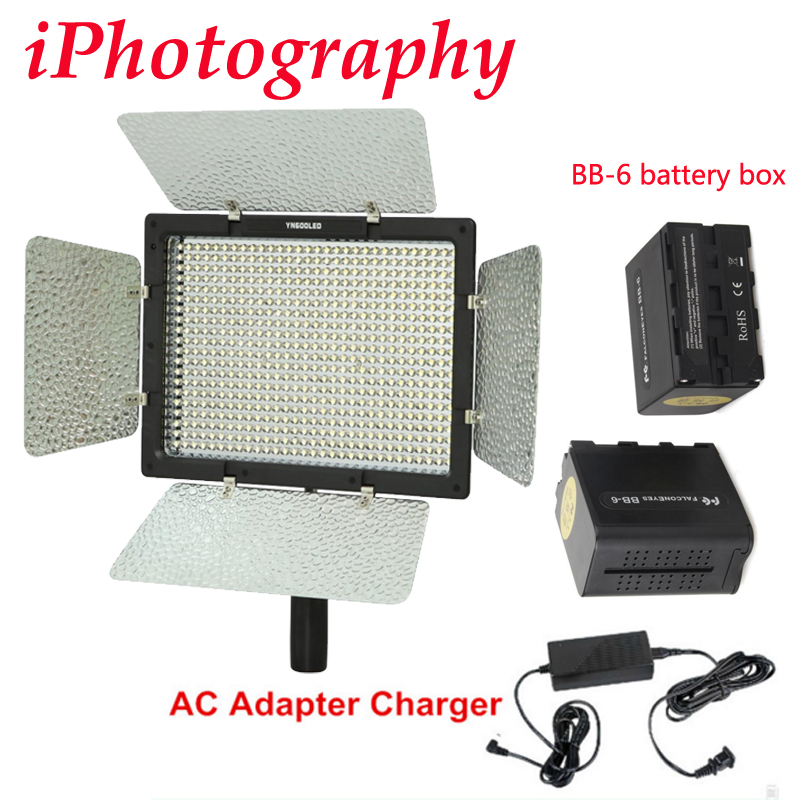 Yongnuo YN-600 YN600 3200-5500k LED Video Light + AC Adapter charger + 2pcs BB-6 AA battery box цена