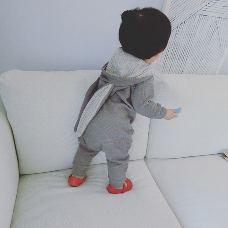 Cute Hooded Bunny Baby Rompers for Girl Boy with Long Ears Zipper Overalls Infant Jumpsuit Baby Clothes Gray/Beige
