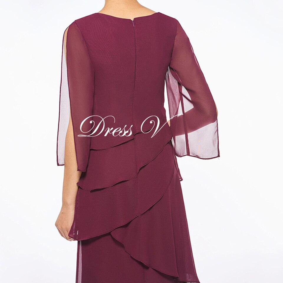 adae3da33ed Dressv Red Mother Of The Bride Dress A Line Ankle Length Three Quarter  Chiffon Zipper Up Elegant Mother Of The Bride Dress 1 3 2 4 5