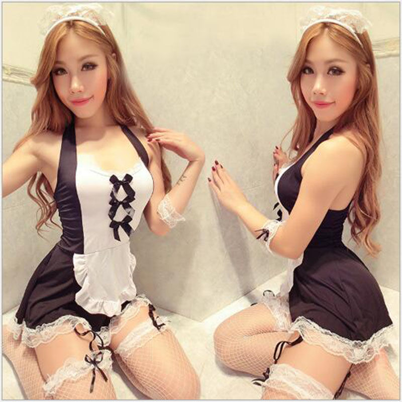 Buy Sexy lingerie hot uniforms temptation lingerie pajamas open crotch transparent maids loaded student stewardess / set A549