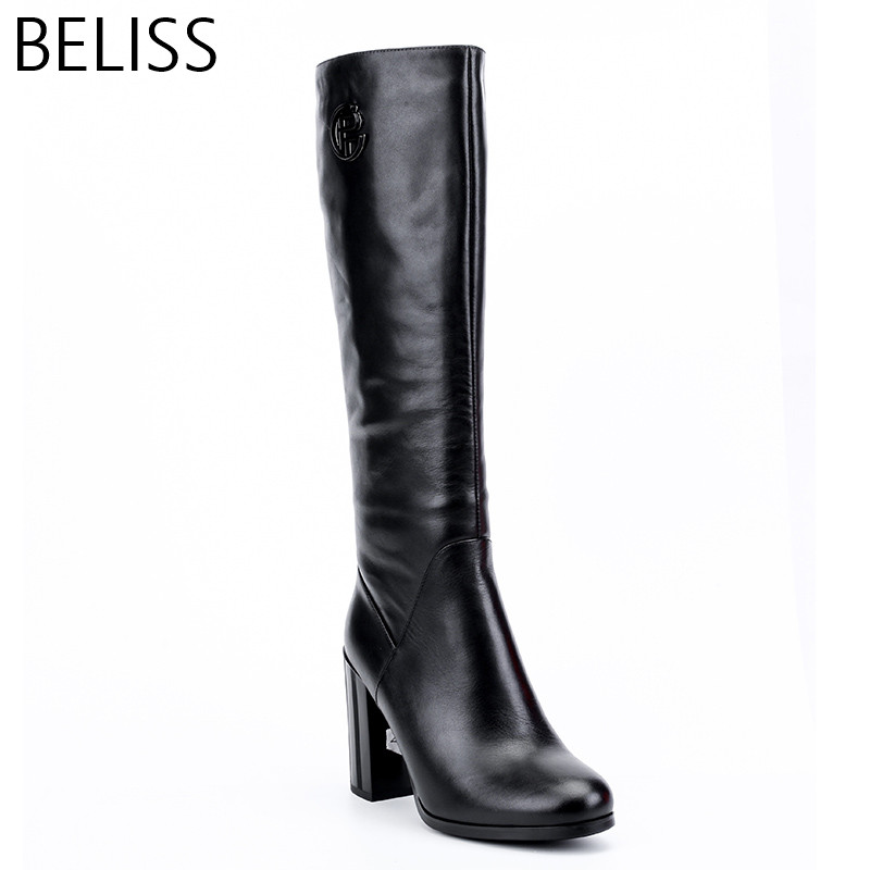 BELISS natural wool boots knee high women high quality ladies winter boots heels high genuine leather