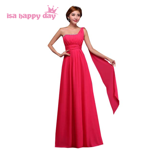 long women bridesmaid brides maids maid of sister dress custom floor lenght chiffon one shoulder fuchsia dresses girls H2000