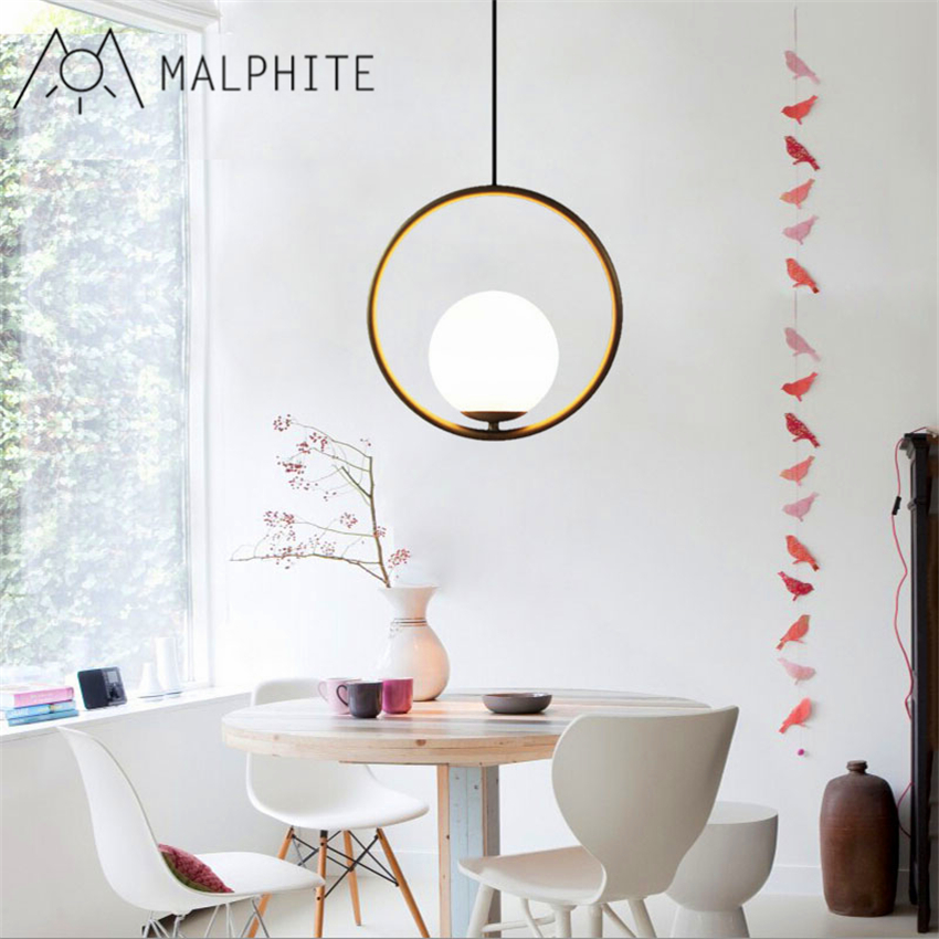 Simple post modern golden bronze chandelier Nordic personalized living room dining room study light glass orb pendant lamp in Pendant Lights from Lights Lighting