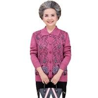 WAEOLSA Woman Textured Knit Cardigans Sweaters Red Purple Blue Knitwear Chinese Elderly Womens Turn Down Collar