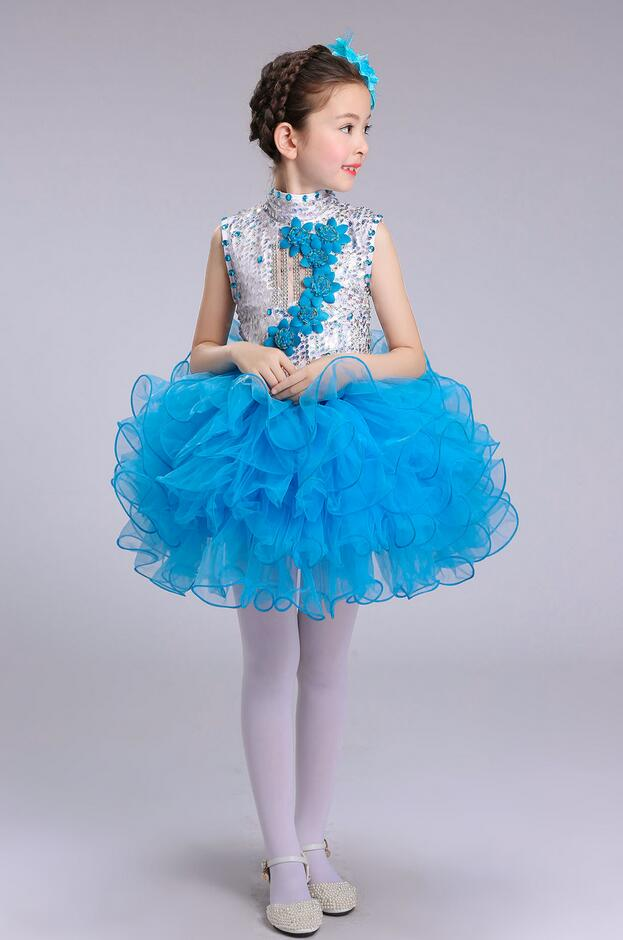 Нарядное платье принцессы для танцев для девочек; Детские бальные платья в стиле джаз и хип-хоп; бальная праздничная одежда; Одежда для девочек с блестками на Хэллоуин и Рождество - Цвет: Синий