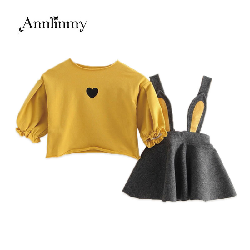 new 2018 autumn spring clothes baby t shirt+strap dress 2pcs toddler girls clothes set for 0~2 age newborn girl clothing suit ...