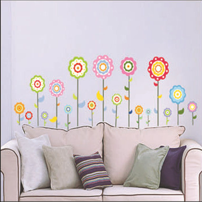 ᓂPvc الشمس زهرة ملصقات الحائط ل غرف الاطفال adesivo دي parede