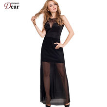 Comeondear Chiffon Dress with Floor-length Sheer Overlay Maxi Dresses Long Sleeveless Sweet and Romance R70235Women Summer Dress(China)