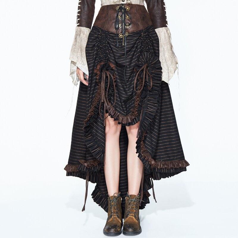 2018 Steampunk Gothic Black Brown Skirt Lace Skirt Devil Fashion Punk Women's Waist Irregular Banquet Skirt