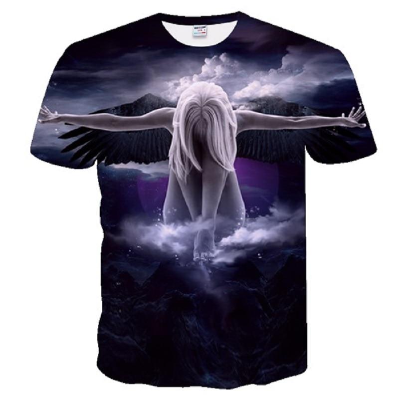 ed57ed1576c5 angel Big yards New Fashion Brand T-shirt Men Women Summer 3d wolf Tshirt  Print cat T shirt Tops Tees M-5XL