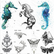 OMMGO Seahorse Armor Horse Temporary Tattoos Sticker Fashion Fake Tattoo For Women Men Custom Tatoos Body Art Wrist Waterproof(China)