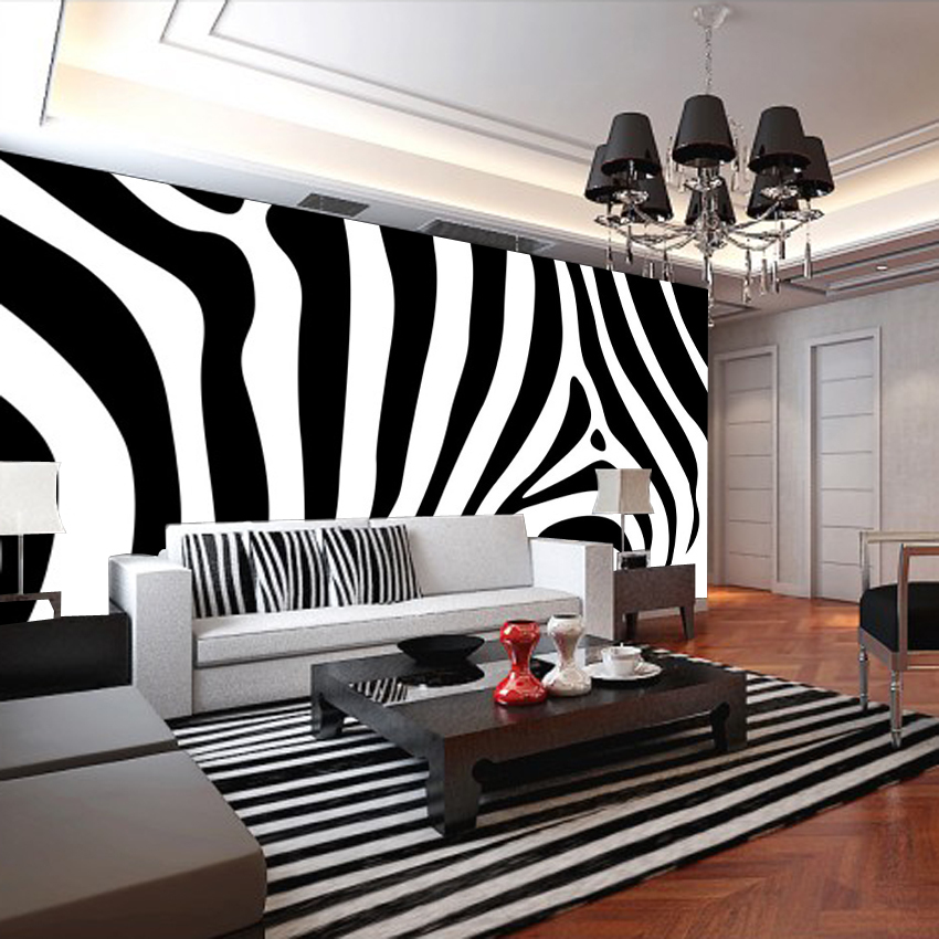 New 8D Large Mural Black White Zebra Murals 3d Mural Wallpaper 3D