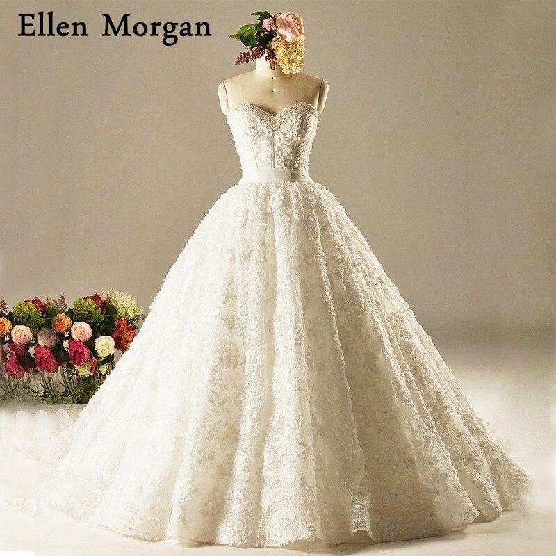 Plus Size Lace Ball Gowns Wedding Dresses 2018 Vestido De Noiva Corset Court Train Real Photos Princess Garden Bridal Gowns