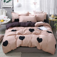Black Heart Home Bedding Set 3/4pcs Bed Linen Set Heart Printed Duvet Cover Set Classic Bed Cover Sheet Pillowcase Camel Bed Set(China)