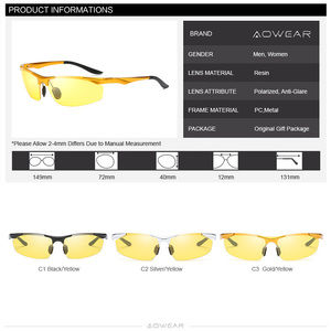 Image 5 - AOWEAR Mens Polarized Night Vision Glasses for Driving Goggles Aluminum Yellow Sunglasses Men High Quality Driver Eyewear