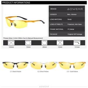 Image 5 - Aowear男性の偏ナイトビジョンメガネ駆動ゴーグルアルミ黄色サングラス男性高品質のドライバー眼鏡
