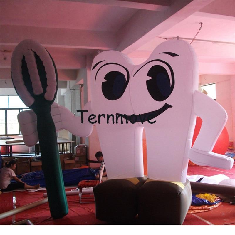 Promotion gonflable de santé d'annonce de dentiste de publicité de dent, ballon gonflable blanc géant de dent de modèle gonflable de brosse à dents