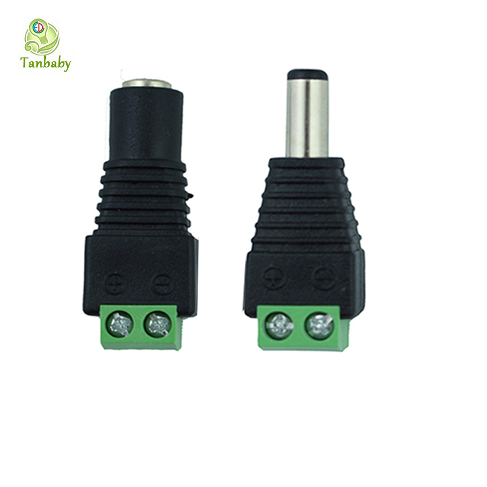 Tanbaby 1piece strip connector Male Female 2.1x5.5mm Jack DC Power Adapter connector for 3528 5050 5630 strip ,CCTV Camera Black 10pair 12v push dc connector adapter for 5050 3528 single color led strip and cctv camera 5 5x2 1mm no screw 10x female 10x male