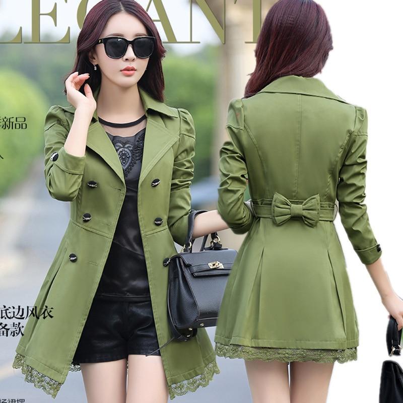 Spring/autumn Coat Women Long Sleeve Trench Coat Lace Long  Trench Coat For Women Plus Size Trench Coat Feminino Women Trench