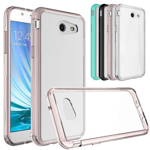more photos e66fa a3e52 Soft TPU Hard Back Acrylic Bumper Case Transparent Clear Cover For Samsung  Galaxy J3 Emerge/Prime/J3 2017/J3 Eclipse/J3 Mission